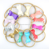 mix color nude Color Stretchy Nylon Elastic Headbands with leather bow for Girls for infant baby base headband hair accessory