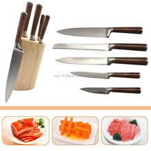 Hot sale 5 piece stainless steel kitchen knife set with wooden holder