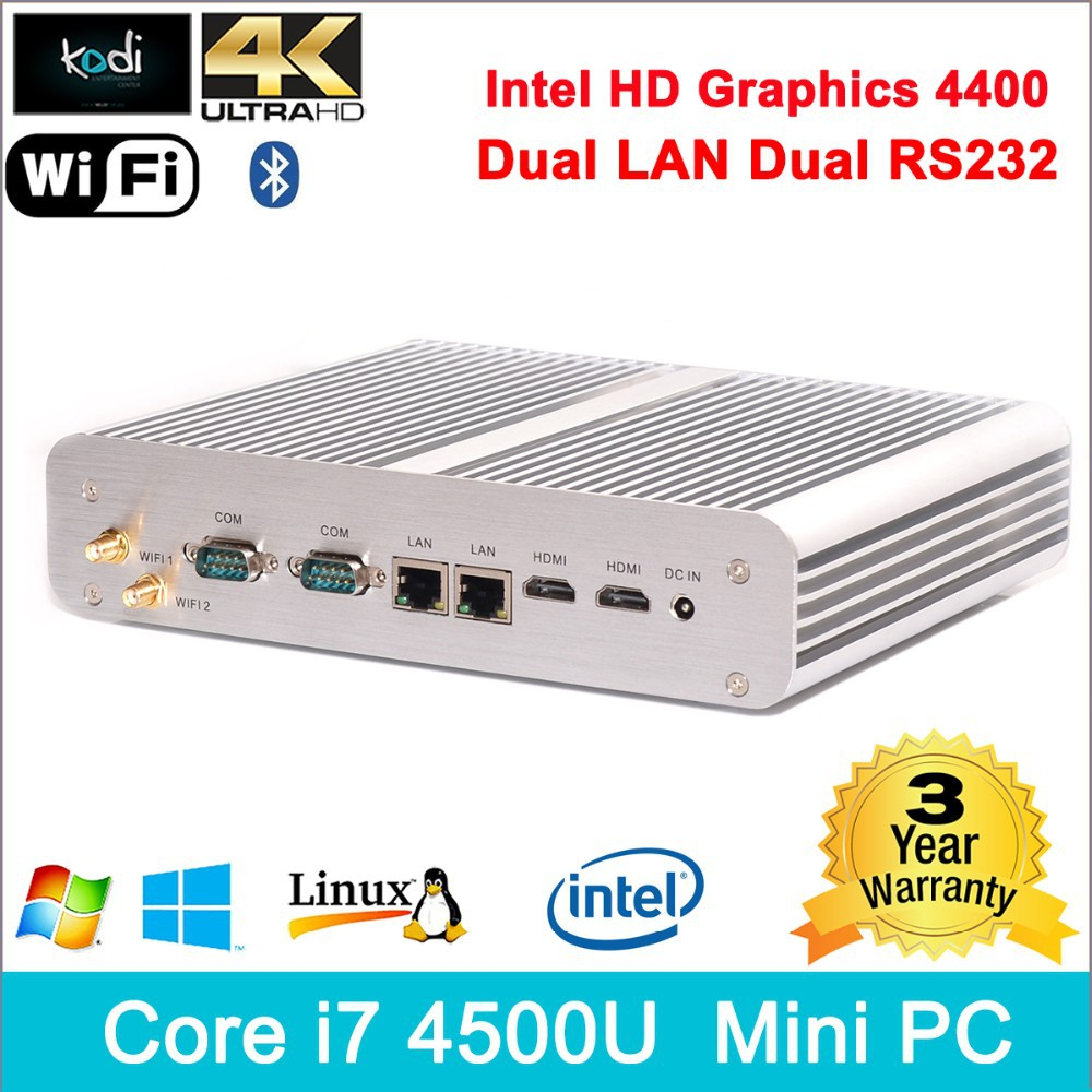 Core i7 4K HD pc box linux 300M wifi dual antennas USB 3.0 HDMI display foxconn nano pc