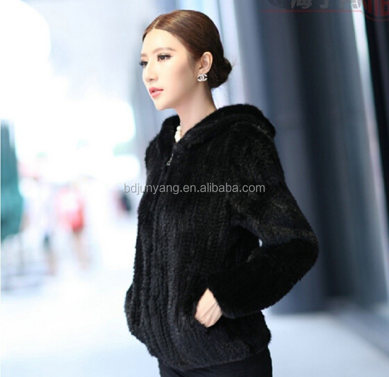 Best selling fashionable plus size knitted mink fur coat for sale
