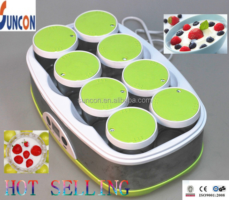 50W Stainless steel Digital Fansion Yoghurt Maker with 8 glass cups,LED Display