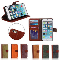 retro style Couple color matte leather wallet phone case for iphone 6 cover