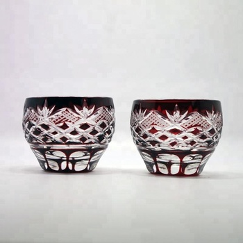 Crystal Sake Cup Edo Kiriko Guinomi Cut Glass Octagon Hakkaku-Kagome Pattern - Red[Japanese Crafts Sakura]