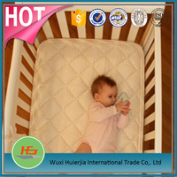 Waterproof white cotton baby crib quilted mattress pad/cover/protector