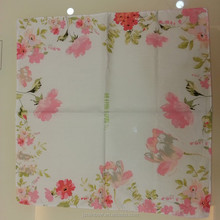 High quality wholesale digital print flower 100% cotton table napkin folding