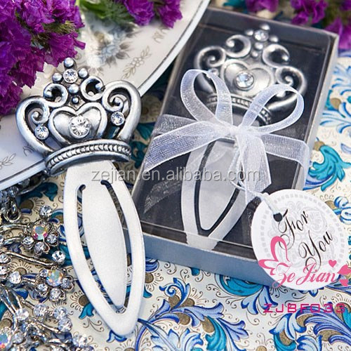 Unique Wedding Souvenir Party Favors and Gifts-Love Bookmark Metal Royal Crown Bookmark Favors