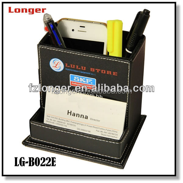 High Quality Faux Leather Pen Holder with Name Card Holder