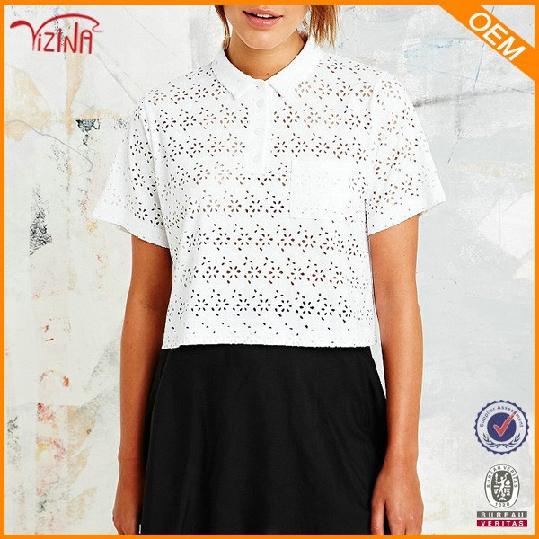 Cutout white cotton polo t shirt for women,new design polo tshirt made in china