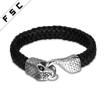Braided Stainless Steel Leather Snake Mens Bracelet With Magnetic Clasp