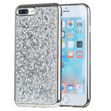 Electroplated Soft TPU Crystal Diamond Rhinestone Bling Glitter Protective Shell Back Case Cover for iPhone 7 7plus