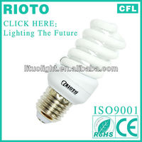 T2 7mm 15W E27 full spiral fluorescent lighting energy saving lamp CE.ROHS.SASO.ISO9001