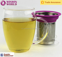 Promotional Mother's Day Christmas Gift Drinking Borosilicate Glass Tea Mug With Infuser/Filter/Strainer