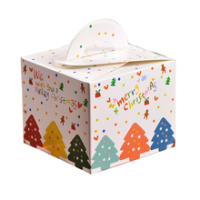 Christmas decorative cake packing box with handle