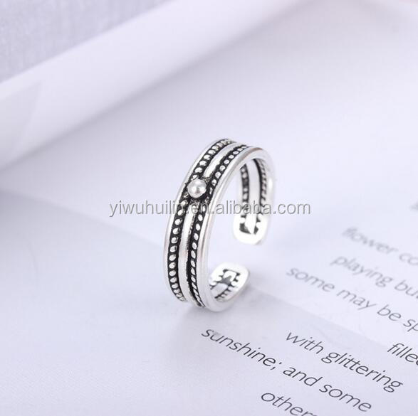 YFY1154 Yiwu Huilin Jewelry Wholesale antique silver finger ring tai silver rings base finding diy jewelry