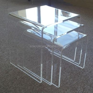 Acrylic Nesting Table Coffee End Table 3pc Lucite Side Table Set