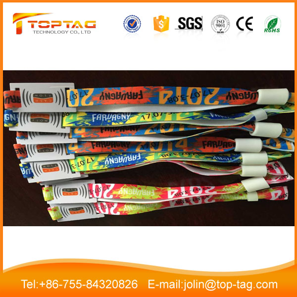 Disposable RFID NFC Fabric Event Wristband Icode Sli-x for Marathon with slide slot