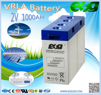 High quality 2V 1000AH free maintance lead acid battery/rechargeable battery long life storage cell