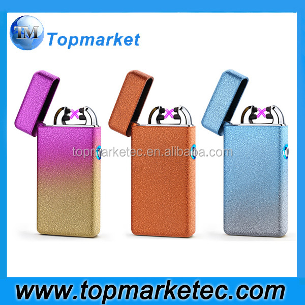 factory wholesale usb rechargeable lighter/windproof double arc pulse usb electric lighter