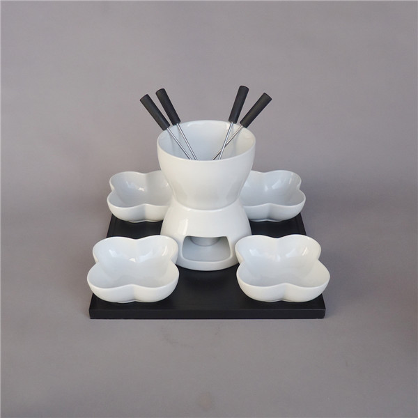 Artcafted mini custom white cheap candle fondue set ceramic cheese fondue