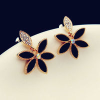OU2157 imitation jewellery turkey,colorful jewelry,gold jewlery,exotic accessories,Crystal Enamel Stud Flower Earring