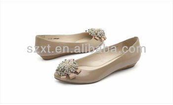 low heel wedge shoes for women and girls with big beads bow