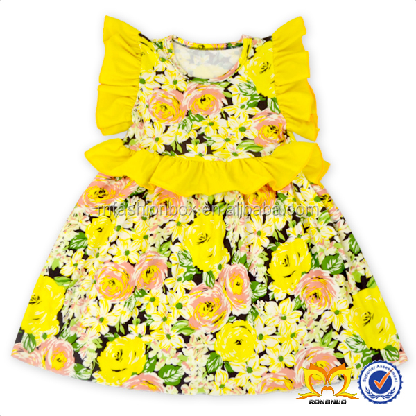Latest Long Tops Designs Girls Dress Boutique Remakes Children Clothing 2016 New Model Girl Dress