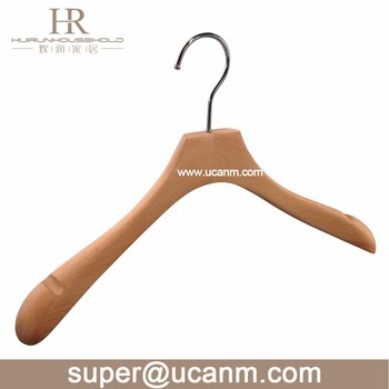 Customed LOGO Luxury Wood coat clothes Hanger