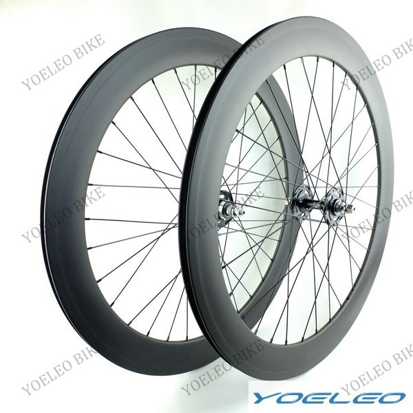 700c Full carbon fixed gear clincher 50mm wheels with hubs,flip flop+