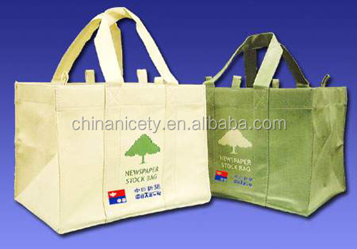 Cheap PP non woven grocery bag with heat-transfer printing for wholesale