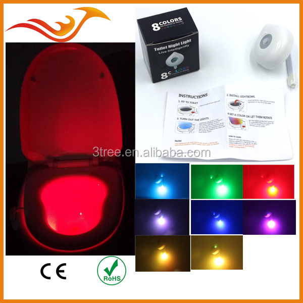 8 color options LED toilet night light for washroom motion sensor toilet light power with dry batteries
