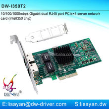 Fast ethernet Intel I350-T2 dual port PCIe x4 lan sever card