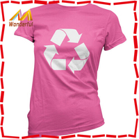 Recycling Symbol - Custom T Shirt Printing Women Ladies T-Shirt Recycle - Gift - Clothing
