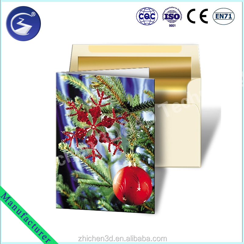 promotional wholesale custom lenticular printing christmas 3d greeting cards