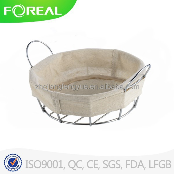 metal chrome and wood round fruit bowl / bread basket