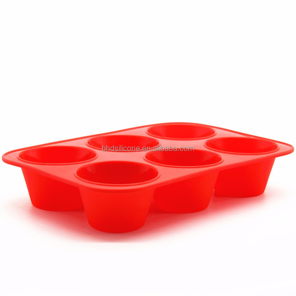 6 Cups Silicone Texas Muffin/Cupcake Pan,Nonstick Microwave Safe Round Silicone Baking Mold