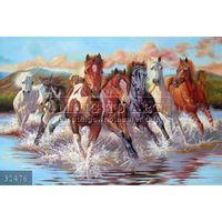 100% Handpainted Chinese 8 Running horses oil painting on canvas,Fengshui Animal Art