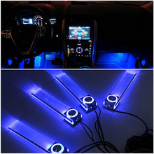 4 In 1 12 V Fashion Romantic LED Blue Car Decorative Lights Charge LED Interior Floor Decoration Lights Lamp Hot Worldwide