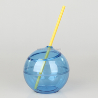 2016 summer fashion bar use 24oz single wall clear Bpa-free plastic round ball coconut shaped cup with straw, colorful options