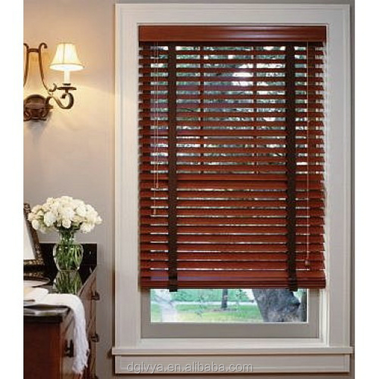 solid brown wooden blinds and curtains for living room decoration