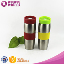 Sport Insulated Stainless Steel Thermo Travel Mug Vacuum Flask With Silicone Sleeve