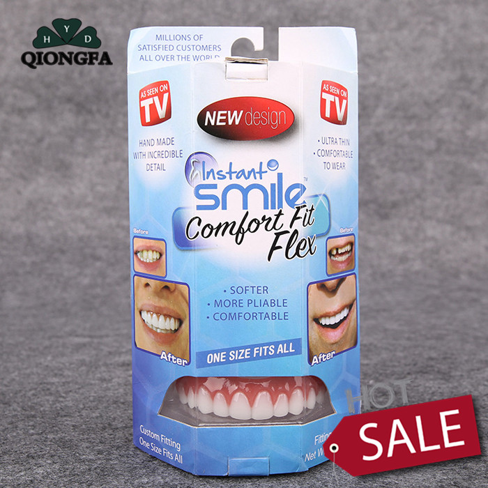 QIONGFA Cosmetic Teeth 1 Pack Large Natural Uppers Only Arrives Flat Fit at Home Do it Yourself Smile Makeover Braces