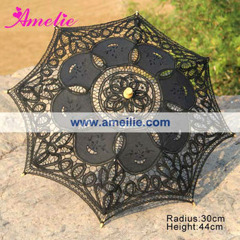 A0163 30cm Black lace umbrella for baby show Decoration umbrella
