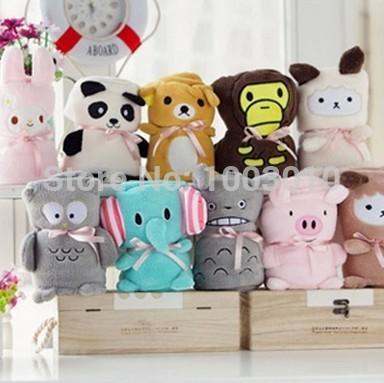 Cute Cartoon Animal Baby Cotton Soft Plush Blanket Coral Fleece Air Conditioning Blankets for Kids Children Women Home Beding