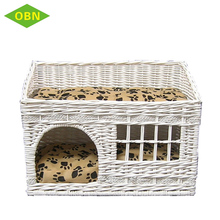 Decorative large white natural wicker rattan pet dog house