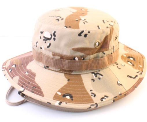 Brown Fisherman Camo bucket hat Distressed camo military bucket hat with string