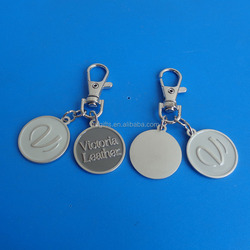 Victoria Leather Logo Cheap Promotion Shopping Cart Coin Keychain With Personalized Logo