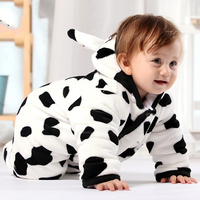 Wholesale Baby Romper Climbing Clothes Cow Baby Coveralls Hoodie Thick Quilted Baby Clothes for Winter with Socks
