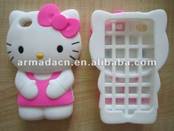 Loverly Soft 3D Hello Kitty Silicone mobile phone case For iPhone 4/4S