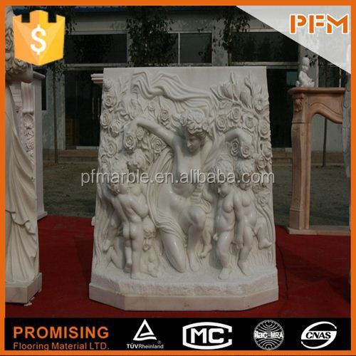 2015 latest natural well polished best price man-made 3D marble wall baby angel sculpture
