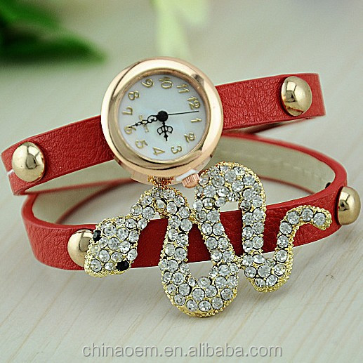 2014 Newest Fashion Ladies Full Crystal Diamond Snake Rhinestone Watches Women Dress Quartz Wristwatch